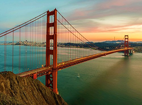 Gates Sunset (Adult Jigsaw Puzzle The Golden Gate Bridge Sunset San Francisco California 500-Pieces Wooden)