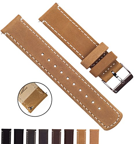 BARTON Quick Release Top Grain Leather - Choice of Colors & Widths (18mm, 20mm or 22mm) - Gingerbread/Linen 20mm Watch Band