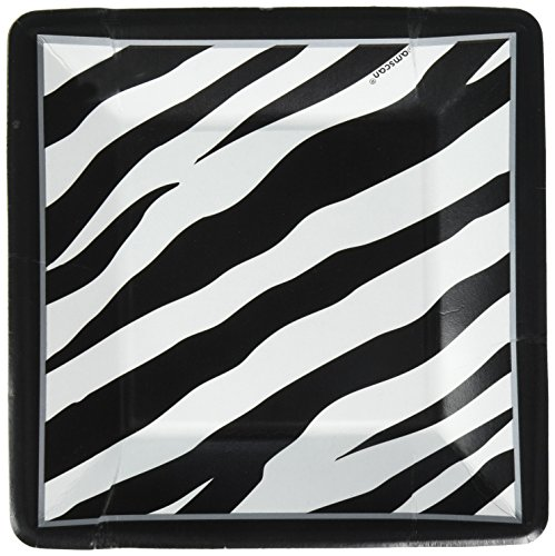 Disposable Classic Black and White Zebra Stripes Square Dessert Plates Party Tableware, Paper, 7