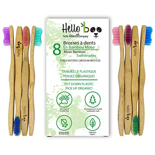 Bamboo Toothbrush for Adults and Teenagers | 8 Pack Biodegradable Tooth Brush Set | Organic Eco-Friendly Moso Bamboo with Ergonomic Handles and Medium Nylon Bristles | by Hello Eco Company