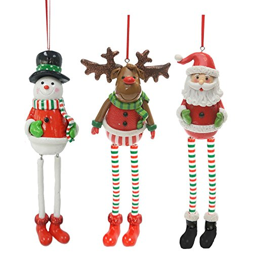 Santa Snowman Ornament (Christmas Holiday Long Legs Reindeer, Santa, or Snowman Figure Ornament - Assorted, 8
