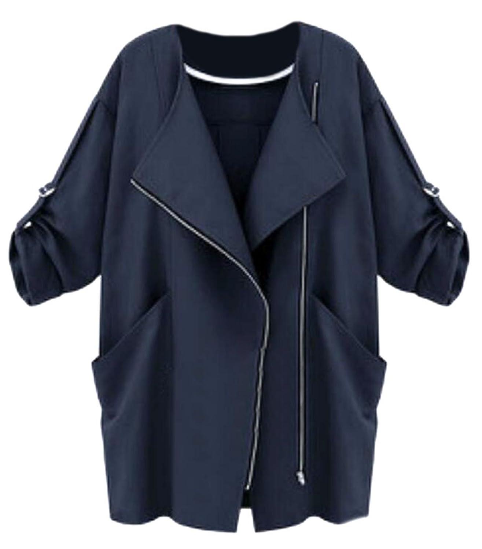 ARRIVE GUIDE Womens Fashion Lapel Loose Roll Up Zipper Cardigan Jackets