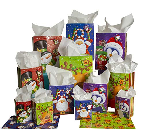 Christmas Gift Bags w/Holiday Tags, Flat Wrap, and White Tissue Paper (28-Piece Set) Small, Medium, and Large Reusable Present Wrapping | Santa Claus, Snowman, Penguin, Reindeer
