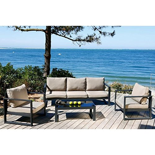 TESSA Salon de jardin 6 places aluminium peint noir: Amazon.fr ...