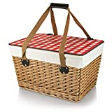 Picnic Time Canasta Basket with Red Check Lid For Sale