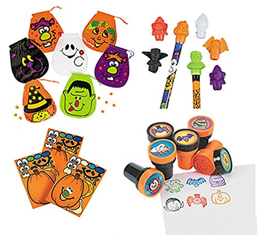 Halloween Party Favors Bundles, Classroom Party Supplies Bundles, 72 Goody Bags, 24 Stamps, 144 Pencil Top Erasers, 12 Pumpkin Stickers