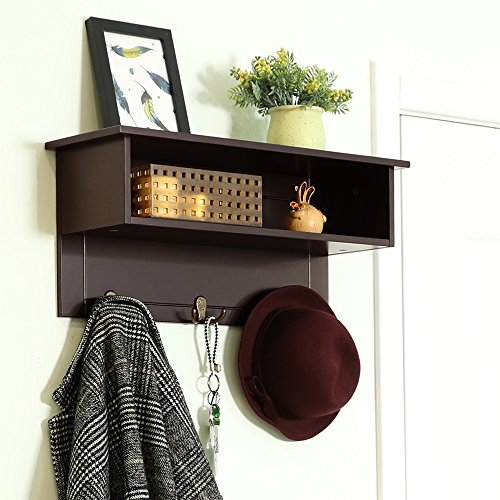 SONGMICS Wooden Entryway Hanging Shelf with 3 Dual Hooks and Storage, Espresso, ULES01BR