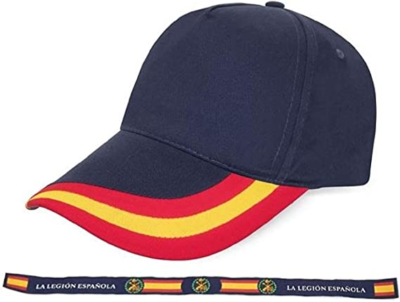 crisandecor Gorra Azul Bandera de España con Pulsera de Tela Legión Española