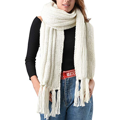 FURTALK Mens Winter Knitted Scarf Oversized Long Crochet Super Chunky Warm Scarfs With Tassels ()