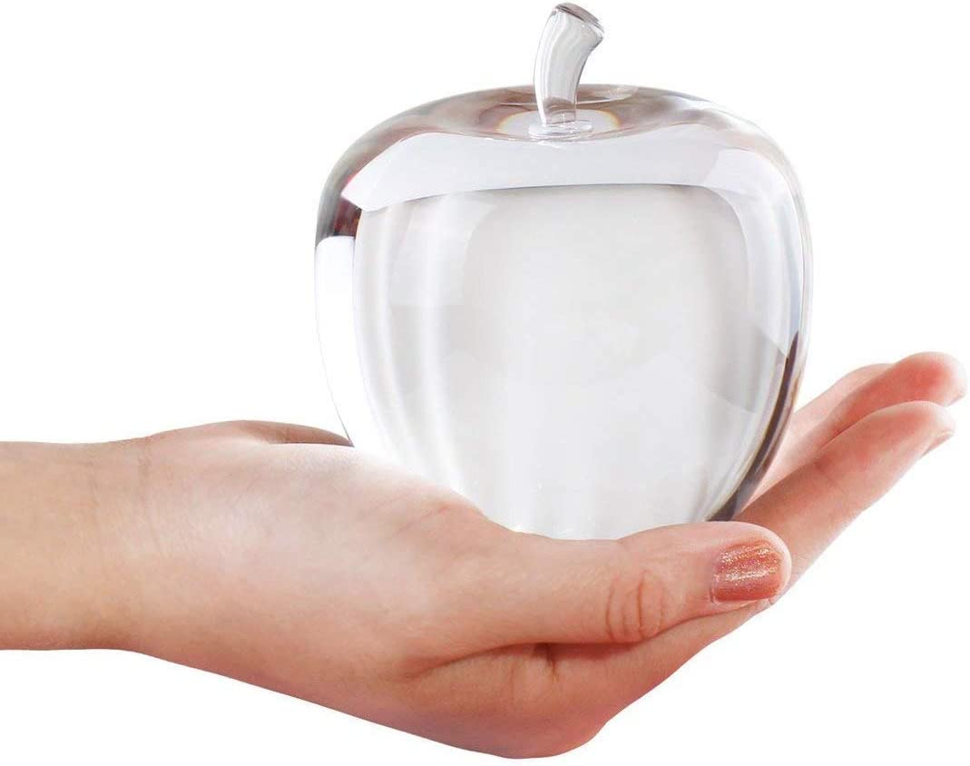 H&D HYALINE & DORA Crystal Glass Apple Paperweight (Clear)