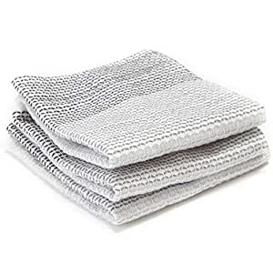 Full Circle Tidy 100% Organic Cotton Dish Cloths, Set of 3, Grayscale