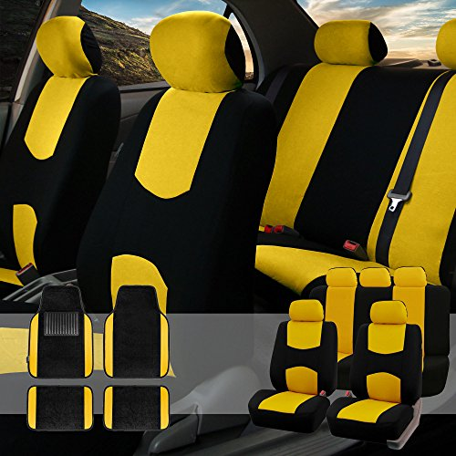 - FH GROUP FH-FB050115 + F14407 Full Set Flat Cloth Car Seat Covers with Premium Carpet Floor Mats, Yellow / Black- Fit Most Car, Truck, Suv, or Van