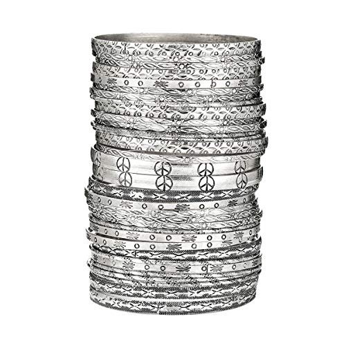 Ensoul Peace Design Antique Silver Color Flower Mixed Metal Aztec African Indian Vintage Multi Girls&Women Bangles Set of 33