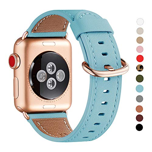 WFEAGL Compatible iWatch Band 42mm 44mm, Top Grain Leather Band with RoseGold Adapter(The Same as Series 4/3 with Gold Aluminum Case in Color)for iWatch Series 4/3/2/1 (Tiffany Blue+Rose Gold ()