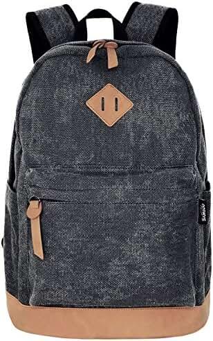 SAMGOO Unisex Lightweight Canvas College Backpacks Hiking Laptop Backpack Travel Rucksack Schoolbags School Book bag Daypack