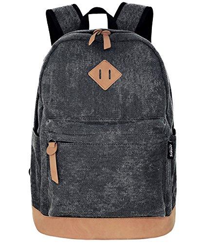 Unisex Lightweight Canvas College Backpacks Travel Hiking Laptop Backpack Rucksack Schoolbags School Book bag Daypack (Black Washed) ()