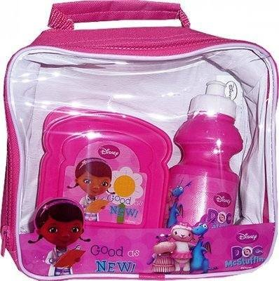 (Girls Character Lunch Bag Kit Set with Water Bottle & Sandwich Box (Doc McStuffins Lunch bag)