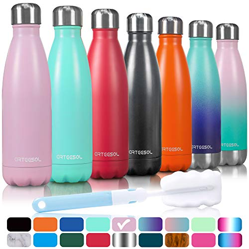 Arteesol Water Bottle, Stainless Steel Vacuum Insulated Water Bottle 350/500/ 750 ml Double Wall Leak-proof Slim Mouth Sport Bottle BPA Free Portable Thermos Flask Ideal for Running, Cycling, Hiking