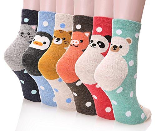 Dosoni Girl Cartoon Animal Cute Casual Cotton Novelty Crew socks 6 packs-Gift (Cute Girl)