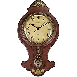 Elegant Wall Swinging Pendulum Clock Faux Wood by Decodyne (DZ-5714)