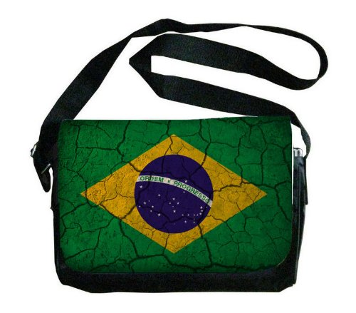 ブラジル国旗Crackledデザインメッセンジャーバッグ   B00FMFJHNE