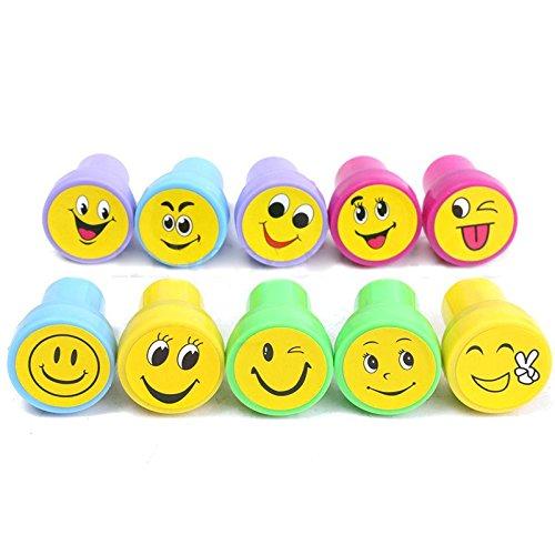 (Face Stamps - Nocm 10pcs Emoji Smile Silly Face Stamps Set Stationery Party Loot Bag - Solar Making Stamp Teacher Sets Smiley Vintage Bullet Letters Japanese Adult Date Leather Alphabet J)