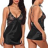 Ababoon Women Lingerie V Neck Nightwear Sexy Satin Sleepwear Mini Teddy Lace Chemise