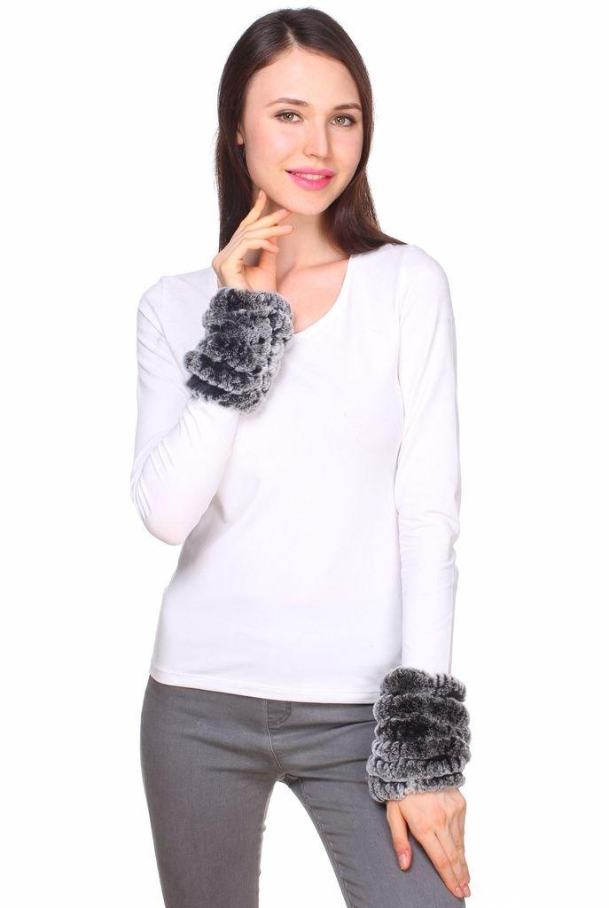 Ferand Black frost Genuine Rex rabbit Fur Bracelet Cuffs for Winter Outwear