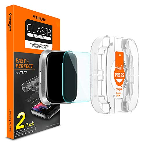 Spigen Tempered Glass Screen Protector [EZ Fit - Installation Kit] Designed for Fitbit Versa/Fitbit Versa Lite (2 Pack)