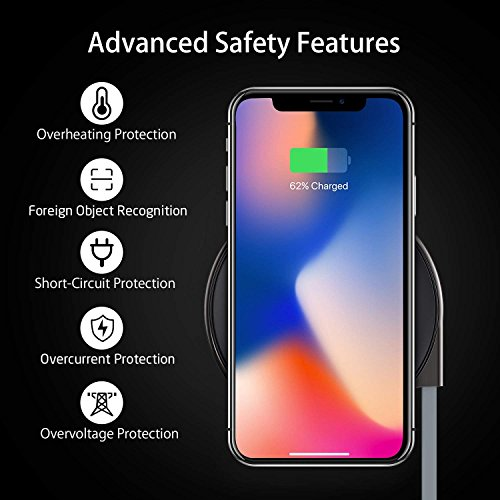 Wireless Charger, ESR Ultra-Slim Premium Qi Wireless Charging Pad iPhone X/iPhone 8/8 Plus, Metal Frame Fast-Charging The Samsung Galaxy S9/S9 Plus/S8/Note 8/S7/S7 Edge (No AC Adapter) by ESR (Image #7)