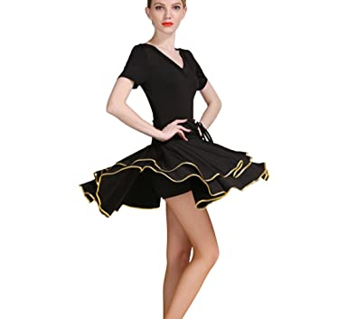 66de01fddbff College Latin dress Latin dance practice clothes Cha Cha skirts Ballroom  skirt Waltz skirt black M