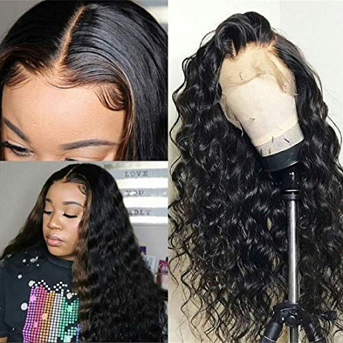13x6 Lace Front Wigs Human Hair Full Lace Wigs for Black Women 10 Inch BLY Brazilian Loose Deep Wave Hair Wet and Wavy Human Hair with Baby Hair Pre Plucked ()