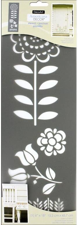 DecoArt Folk Flowers Americana Decor Stencil 6x18