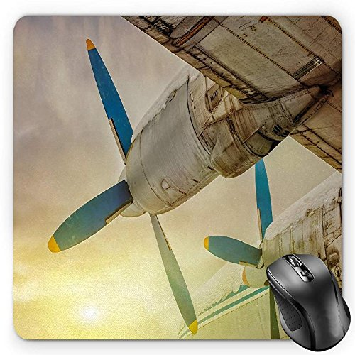 Air Snowy (BGLKCS Vintage Airplane Mouse Pad by, Old Wing Aircraft with Propellers at Sunset Snowy Winter Sky Image, Standard Size Rectangle Non-Slip Rubber Mousepad, Brown Blue Yellow)