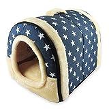 ANPI 2 in 1 Dog House Cat Igloo, Foldable Machine Washable Cat Bed Cave Non-Slip Soft Warm Pet Rabbit House Sofa with Detachable Cushion, 3 Sizes, Multicolour