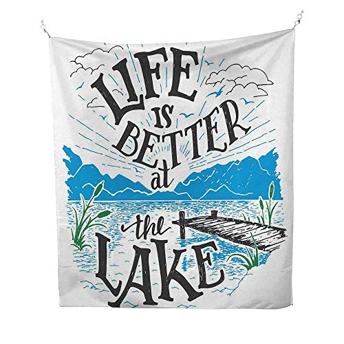 Cabin Decor Queen SizetapestryLife is Better at The Lake Wooden Pier Plants Mountains Outdoors Sketch 40W x 60L inch Wall tapestryBlue Black Green