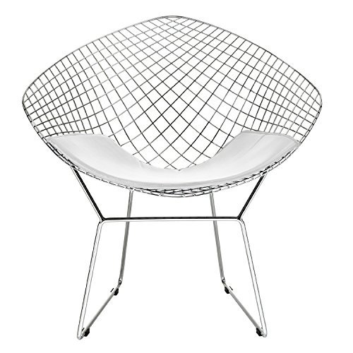 Bertoia Style Diamond Chair in Chrome Finish with White Seat Pad