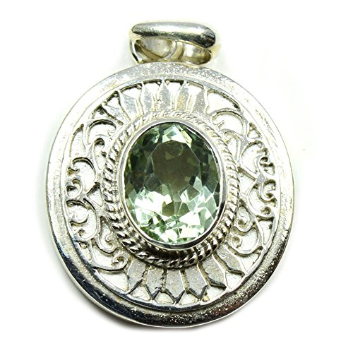 Jewelryonclick February Birthstone Real Green Amethyst Faceted Oval Cut Gemstone Silver Pendant Necklace