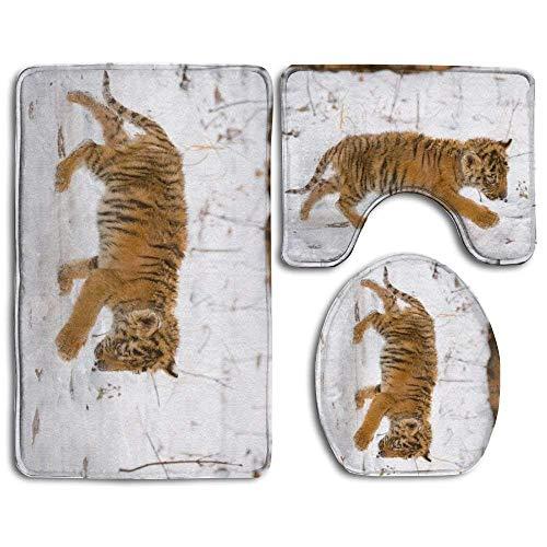(deer sky Baby Tiger Bathroom Carpet Rug 3 Piece Soft Family Flannel Bath U Contour Non-Slip Mat Set Lid Toilet Cover)