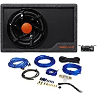 Rockville RWS12CA Slim 1200 Watt 12 Powered Car Subwoofer Enclosure + Wire Kit