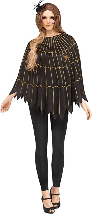 1950s Costumes- Poodle Skirts, Grease, Monroe, Pin Up, I Love Lucy Fun World Gold and Black Spider Web Adult Poncho Costume $19.95 AT vintagedancer.com