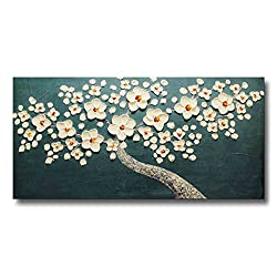 FLY SPRAY 1-Piece 100% Hand Painted Oil Paintings Stretched Framed Ready Hang White Flowers Landscape Tree Flower Modern Abstract Painting Canvas Living Room Bedroom Office Cyan Wall Art Home Decor