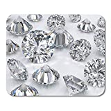 Emvency Mouse Pads Loose Many Classic Round Brilliant Cut Diamonds Scattered on 3D Rendering 3Drendering Mousepad 9.5' x 7.9' for Laptop,Desktop Computers Accessories Mini Office Supplies Mouse Mats