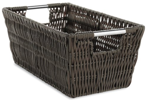 Whitmor Rattique Small Shelf Tote Espresso (Stacking Baskets Wicker)