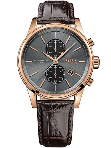 Hugo Boss Jet Black / Rose Gold / Brown Leather Analog Quartz Chronograph Men s Watch 1513281