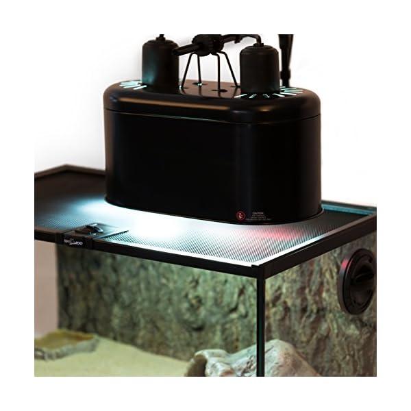 REPTI ZOO Dual Reptile Light Fixture for Reptile Dome UVB Light Fixture Dual Lamp Cap Combo Integration Design Heat Lighting Lamp Kit 9