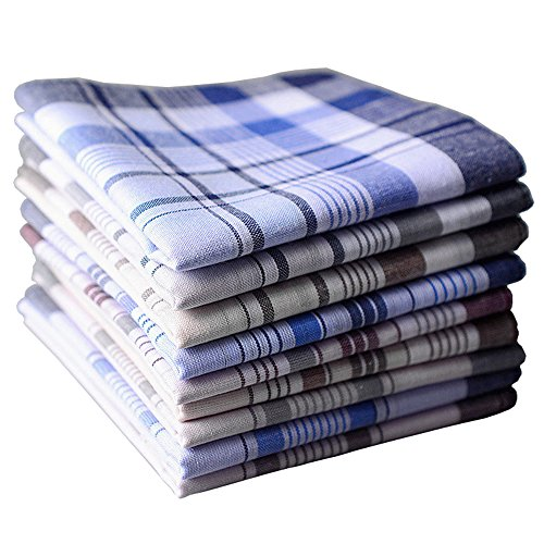 BoosKey Mens Handkerchiefs Hankies 100% Cotton Large Soft Assorted - 6 12 24 Pack (24pcs) by BoosKey
