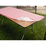 Kwik-Covers Plastic Stay Put Banquet Table Cover, 30 by 96-Inch, Red Gingham