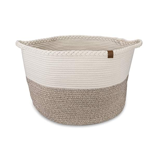 F.S Extra Large Woven Laundry Baskets – 202013.3 Inch Decorative Blanket Basket for Livingroom and Laundry – Cotton Rope Brown and Off-White Laundry Hamper with Handles