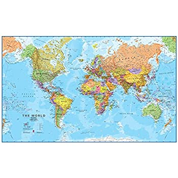 Amazon giant world megamap large wall map poster paper with giant world megamap large wall map poster paper with front sheet lamination 7795 gumiabroncs